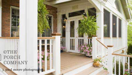 custom screen porch and front porch combination