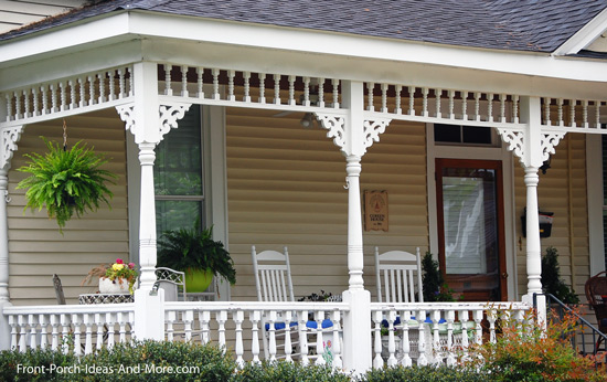 front porch turned columns with exterior house trim