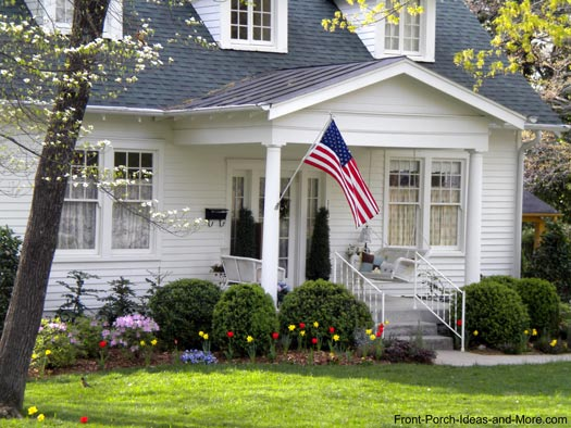 front porch designs - beautiful American flag