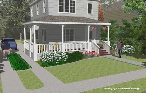 Porch Design Ideas this wrap around porch has green decking and white railings with country style charm Front Porch Remodel 3 D Rendering