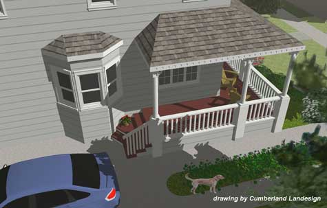 Front Porch rendering view from above