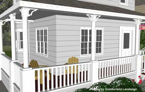 rendering of front porch from street view