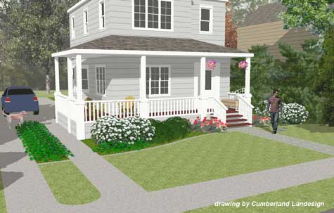 conceptual rendering of front porch remodel