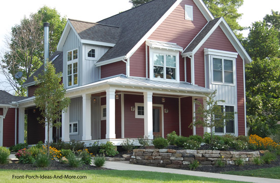 farmhouse porch with standing seam metal roof