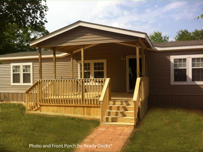 large gabled front porch on mobile home by ready decks - Home Porch Design