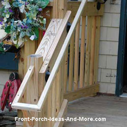 front porch hwooden and rails