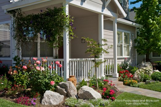 Landscaping with rocks around your porch for Landscaping a small area in front of house