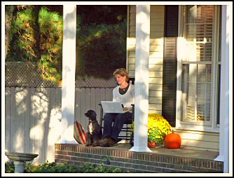 Jennifer enjoying time on her front porch