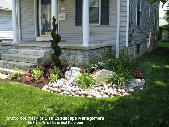 Front yard landscape designs with before and after pictures for Front porch landscaping plants