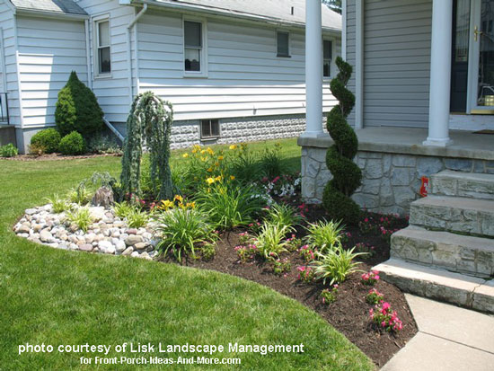 Front yard landscape designs with before and after pictures Plants next to front door