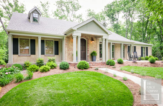 front porch remodel with square columns