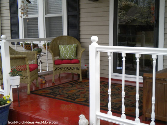 outdoor rug on front porch with red porch floor