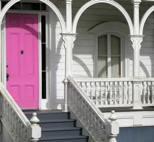 brightly colored exterior front door