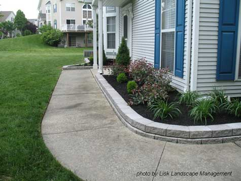 Overgrown shrubs replaced with fresh and beautiful landscaping for Front lawn design ideas