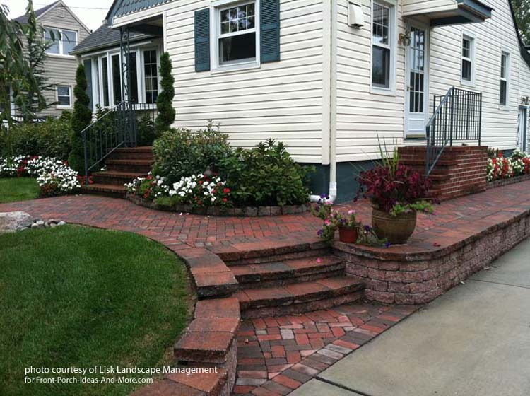 brick walkway and retaining wall
