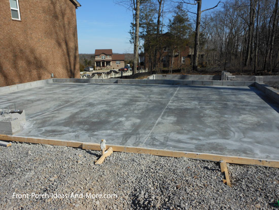 garage floor with poured concrete