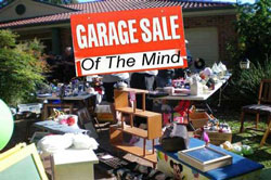 garage sale with sign