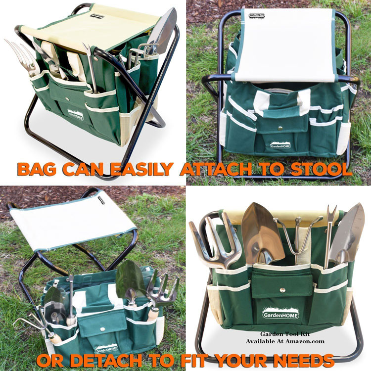 garden tool set with seat