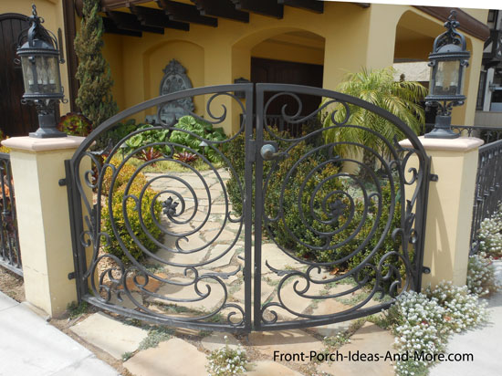 wrought iron gate leading to front porch
