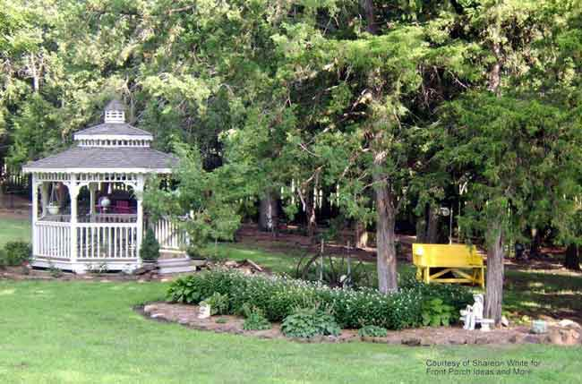 lovely Amish-built gazebo in Shareon's country front yard