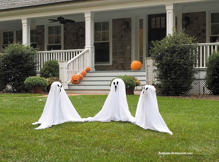 small light up ghostly characters in yard for Halloween decorating from Amazom.com