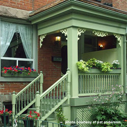 Victorian porch with classic exterior house trim