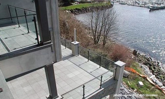 glass deck railings with ocean view