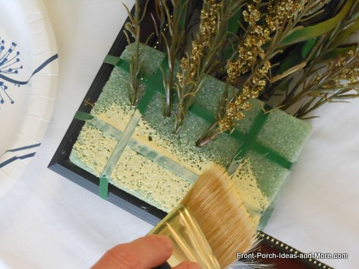 generously put glue on the floral foam