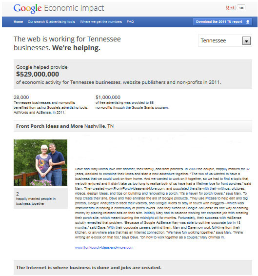 Dave and Mary featured in Google Economic Impact Report