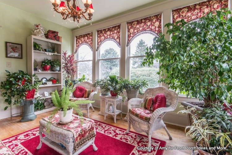 Amy's colorful window treatments for a sunroom