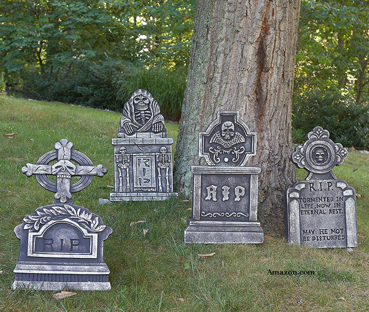 four faux halloween gravestones