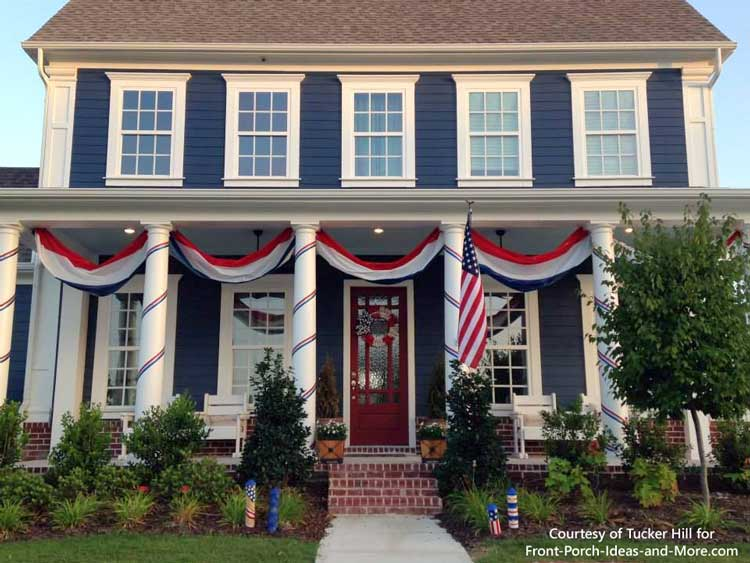 Gray home with patriotic buntings