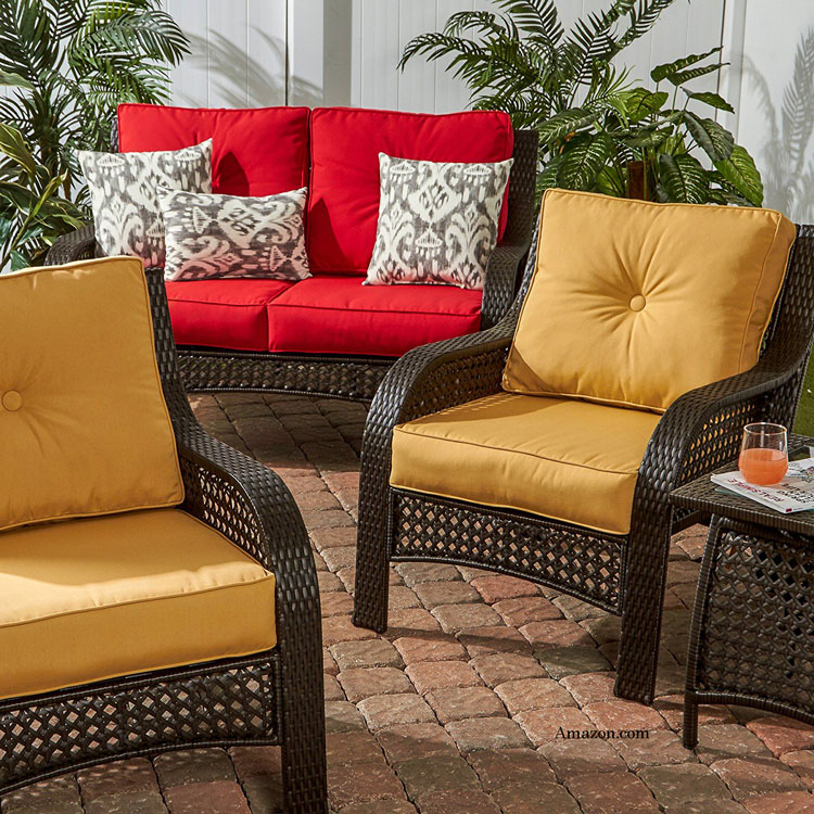 colorful outdoor Sunbrella® furniture cushions and pillows from Amazon.com