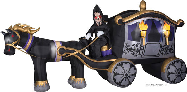inflatable horse drawn hearse and grim reaper