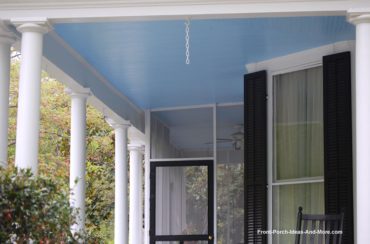 Pretty Front Porch With Haint Blue Beadboard Ceiling