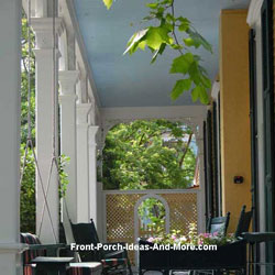 beautiful haint blue front porch ceiling