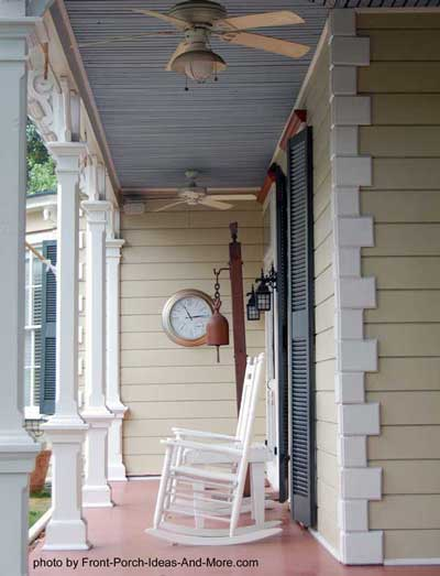iconic American front porch with haint blue ceiling
