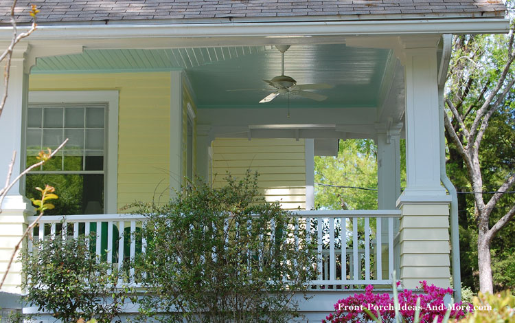 front porch ceiling painted haint blue