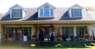 open porch decorated for halloween