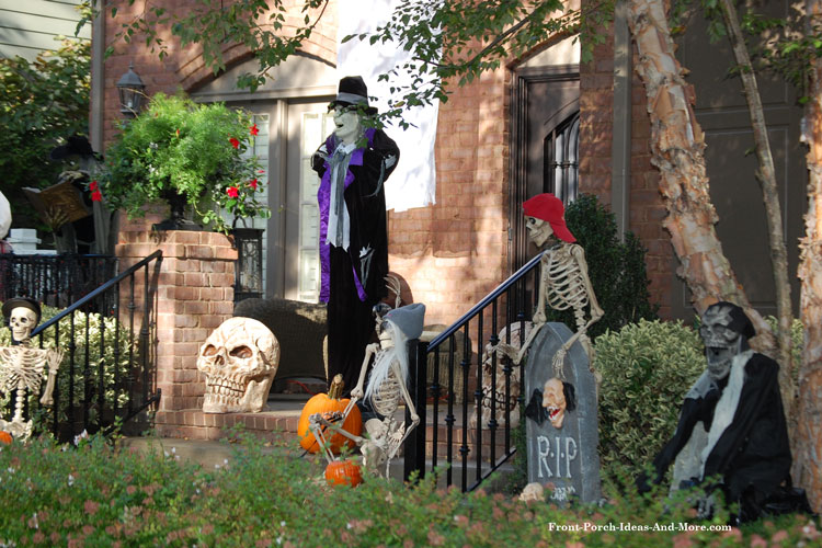 creepy halloween porch steps with animated figures