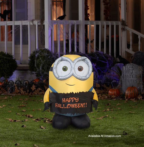 inflatable halloween minion in front yard beside porch