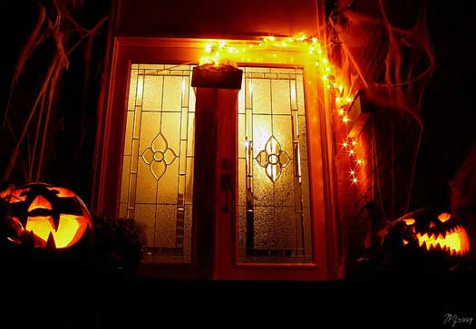 Eerie front porch decorated for Halloween