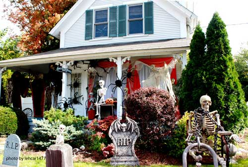 Halloween graveyard scene in front of porch