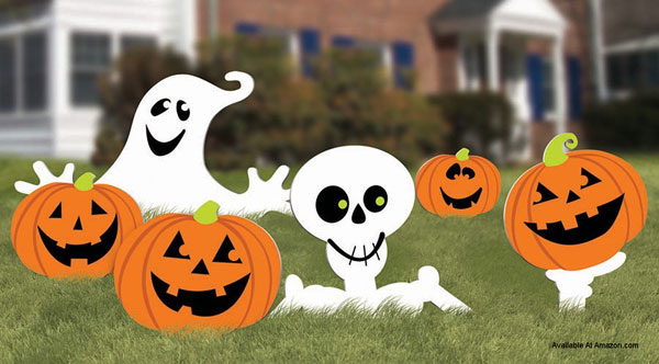 halloween yard signs with pumpkins and ghosts