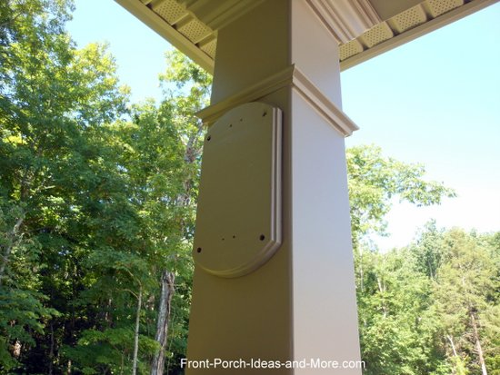 wooden plate mounted onto porch column