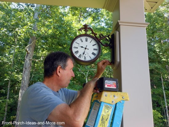 clock installed on wooden base