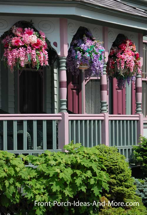 amazing beautiful hanging baskets on front porch