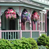 beautiful hanging baskets on porch