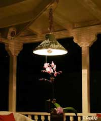 Beautiful porch lighting above bistro table