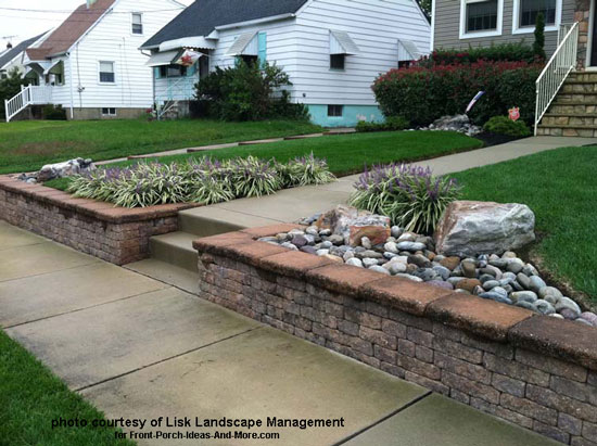 stone landscape retaining wall in front yard